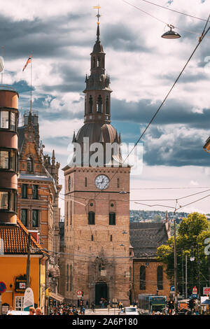Oslo, Norway - June 24, 2019: View Of Oslo Cathedral in Norway, formerly Our Savior's Church. Grensen Street. - Stock Photo