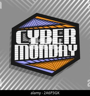 Vector logo for Cyber Monday, black futuristic label with original typeface for words cyber monday, hexagonal abstract concept for season sale on grey - Stock Photo