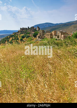 Medieval castle village of Vathia on a cliff above the sea in Mani, Peloponnese, Greece. - Stock Photo