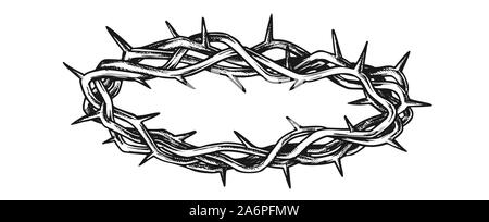 Crown Of Thorns Religious Symbol Vintage Vector - Stock Photo