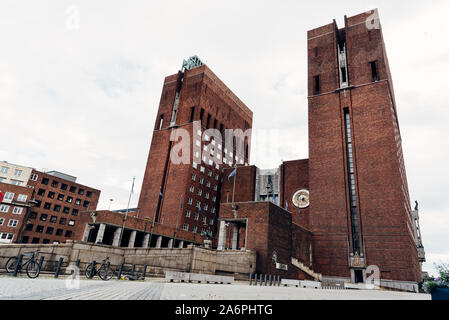 Oslo, Norway - August 11, 2019: Oslo City Hall. It houses the city council - Stock Photo