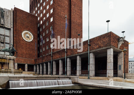 Oslo, Norway - August 11, 2019: Oslo City Hall. It houses the city council. It is the seat of the ceromony of Nobel Peace Prize every year. - Stock Photo