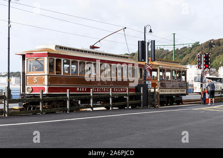 The Manx Electric Railway is an electric tramway connecting Douglas, Laxey and Ramsey in the Isle of Man. - Stock Photo