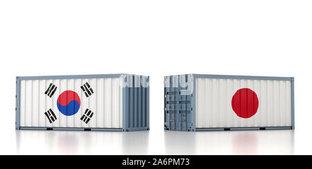 Two freight container with Japan and South Korea flag. 3D Rendering - Stock Photo