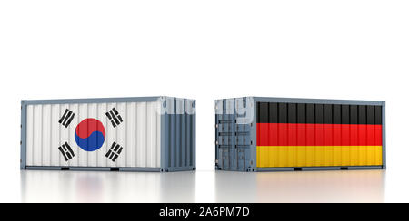 Two freight container with Germany and South Korea flag. 3D Rendering - Stock Photo