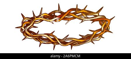 Crown Of Thorns Religious Symbol Color Vector - Stock Photo