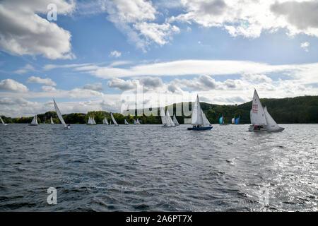 Auf dem Essener Baldeneysee sind, bei windigem Wetter,  viele Segler unterwegs. - Stock Photo