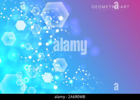 Science network pattern, connecting lines and dots. Technology hexagons structure or molecular connect elements - Stock Photo