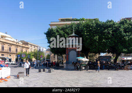 Piazza Giuseppe Verdi Square where Italy's largest Opera House, Teatro Massimo,is situated. - Stock Photo