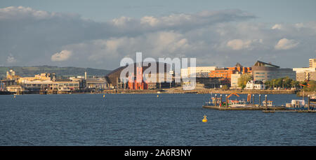 A panoramic view across Cardiff Bay in Wales, UK, on an evening in Autumn