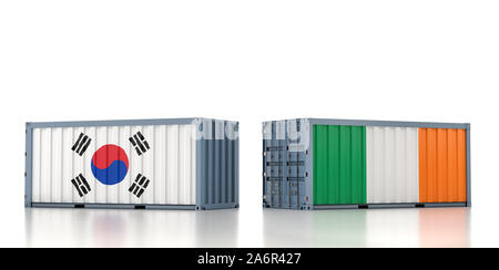 Two freight container with South Korea and Ireland flag. 3D Rendering - Stock Photo