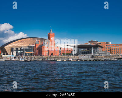 A panoramic view across Cardiff Bay in Wales, UK, on a sunny day in Autumn - Stock Photo