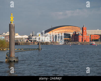 A panoramic view across Cardiff Bay in Wales, UK, on a sunny day in Autumn