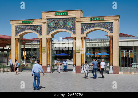 entrance gate  to Siyob Bazaar, Samarkand, Uzbekistan, Central Asia - Stock Photo