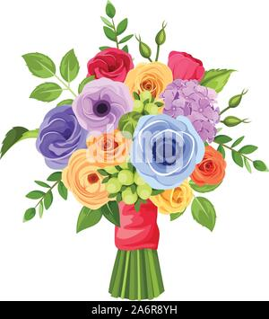 Vector bouquet of red, orange, yellow, blue and purple flowers isolated on a white background. - Stock Photo