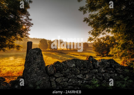 early morning light over fields with dry sone walls and trees .Lozere France. - Stock Photo
