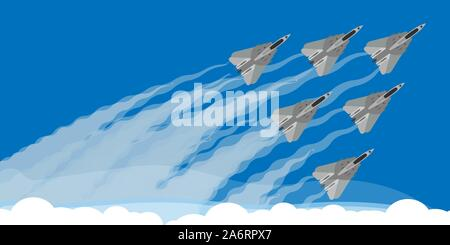 Military fighter jet with sky smoke trail background illustration vector. Air show plane fly acrobatic performance. Speed army team demonstration skil - Stock Photo