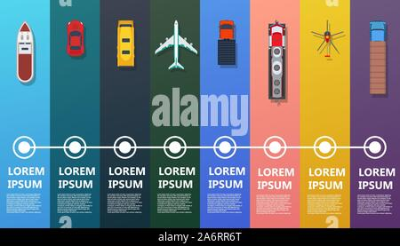 Transport infographic top view vector. Flat bus, ship, truck, train, plane, helicopter, car. Road icon business industry travel map. Set info traffic - Stock Photo
