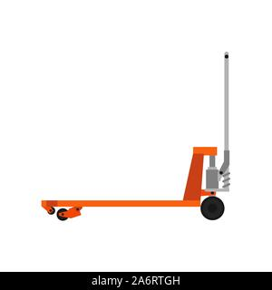 Pallet jack delivery cargo truck box equipment warehouse illustration vector. Forklift crate isolated transport trolley industry sign. Manual shipping - Stock Photo