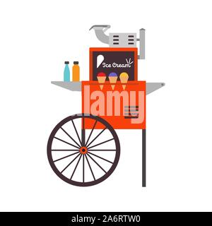Ice cream ice cart vector dessert illustration food. Business kiosk shop market design delicious sweet cone icon. Summer stand stall frozen wheel stor - Stock Photo