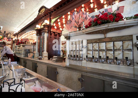 soda syrup dispenser Zaharakos classic ice cream parlour and museum columbus indiana USA - Stock Photo