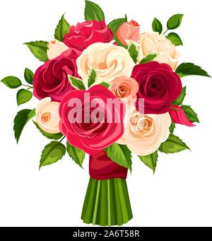 Vector bouquet of red, orange and white roses isolated on a white background. - Stock Photo