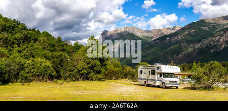 Motorhome in Chilean Argentine mountain Andes. Family trip travel vacation on Motorhome RV in Andes.