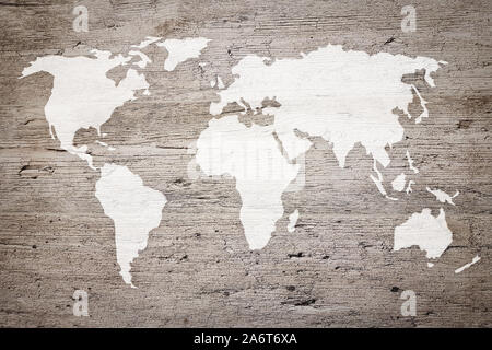 Map of the world painted on an archival wooden plank (mixed) - Stock Photo