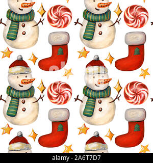 Christmas seamless pattern with a snowman. New year illustration with red sock, candy and stars on a white background. - Stock Photo