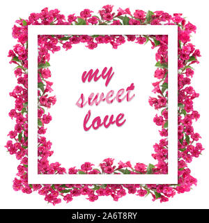 My sweet love text in a beautiful blooming red flowers  frame on a white background. - Stock Photo