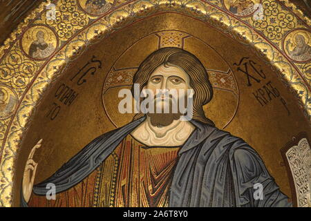 Monreale, Italy - 3 July 2016: The Christ Pantocrator in the Cathedral of Monreale - Stock Photo