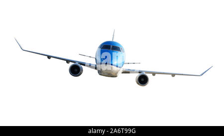 Front view of a generic modern passenger airplane isolated on a white background. - Stock Photo