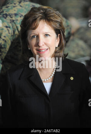 Camp Lejeune, North Carolina, USA. 27th Feb, 2009. United States Senator KAY HAGAN (D-NC) speaks with the media before President Obama visits with U.S. Marines at Camp Lejeune Marine Corps Base home of the II Marine Expeditionary Force. President Obama announced his Iraq withdrawel plan to over 2,000 U.S. Marines in attendance. (Credit Image: © Jason Moore/ZUMA Press) - Stock Photo