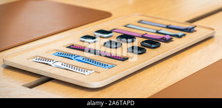 Aventura, Florida, USA - September 20, 2019: Apple Watch Series 5 section at the Apple store in the Aventura mall - Stock Photo