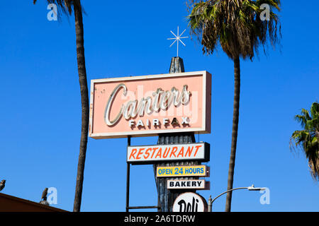 Canter's Jewish delicatessen and bakery sign post, 419 Fairfax Avenue, Los Angeles, California, United States of America. Oct 2019