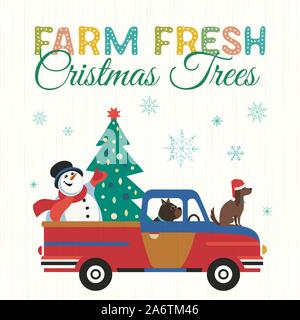 Farm fresh Christmas trees flat color vector poster. Winter holidays hand drawn cartoon. Cute comic dog, snowman transport Christmas tree. Fun banner - Stock Photo