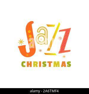 Jazz Christmas holidays music fest hand drawn flat vector icon. Christmas Jazz fancy lettering design element. Winter season holiday musical festival - Stock Photo