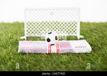 toy soccer ball on euro banknotes near miniature football gates on green grass isolated on white, sports betting concept - Stock Photo
