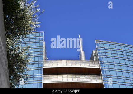 Milan/Italy - October 16, 2019: Unicredit summit behind the buildings of the Milan Porta Nuova business centre in a sunny summer day. - Stock Photo