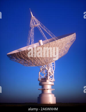 Huge satellite antenna dish for communication and signal reception out of the planet Earth. Observatory searching for radio signal in space at sunset. - Stock Photo