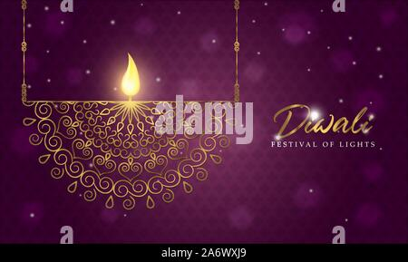 Happy Diwali greeting card of traditional gold hindu decoration with glitter and candle fire. Luxury indian celebration illustration. - Stock Photo