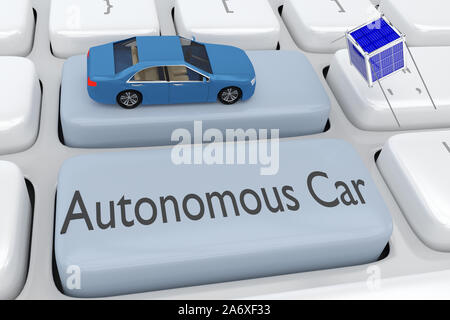 3D illustration of computer keyboard with a blue car on a pale blue button, with the script Autonomous Car placed on another pale blue button, and a n - Stock Photo
