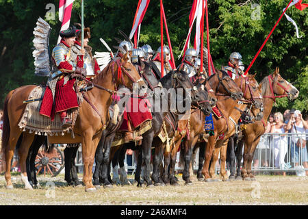 Historical reconstruction of the battle of Moscow of Polish winged hussars and Rus Streltsy of the Time of Troubles in the Museum Kolomenskoye, Moscow - Stock Photo