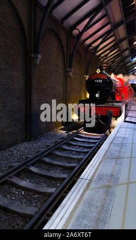 May 2019, Warner Bros. Studio Tour London – The Making of Harry Potter (England, UK). Beautiful sharp shot of the Hogwarts Express train on 9 3/4.