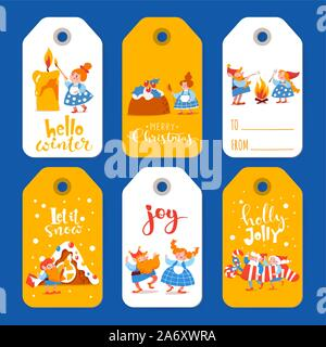 Six winter sale labels with cute elf characters on Christmas holidays - Stock Photo