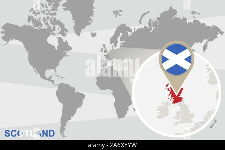 World map with magnified Scotland. Scotland flag and map. - Stock Photo