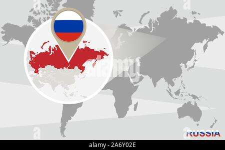 World map with magnified Russia. Russia flag and map. - Stock Photo