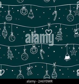 Fun hand drawn christmas baubles seamless pattern, christmas tree ornaments hanging on branches with ribbons - vector surface design - Stock Photo