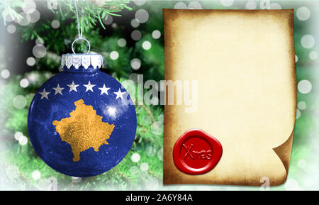 Christmas and New Year background with a flag of Kosovo. There is a place for your text in the photo - Stock Photo