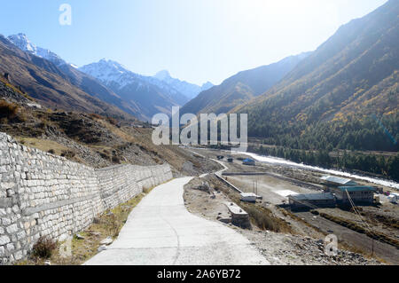Landscape scenery of Chitkul Village, last village point in Sangla Valley, India on old Hindustan-Tibet trade route -NH 22 in Kinnaur district, Himach - Stock Photo